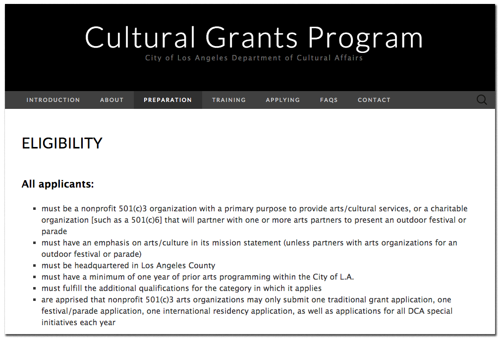 Cultural Grants Program microsite